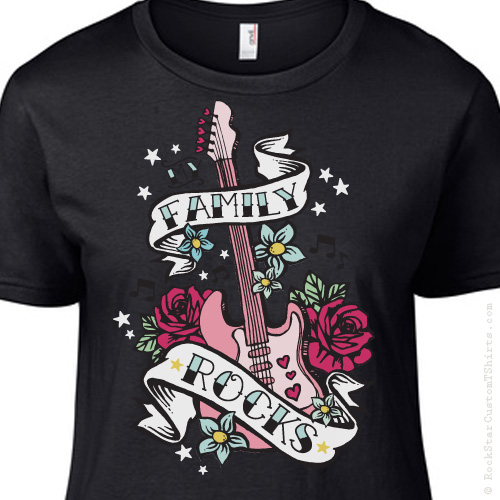 b9a50a968 My Family Rocks! Rock n Roll Guitar GIRLS T-Shirt – 20 Color Choices!
